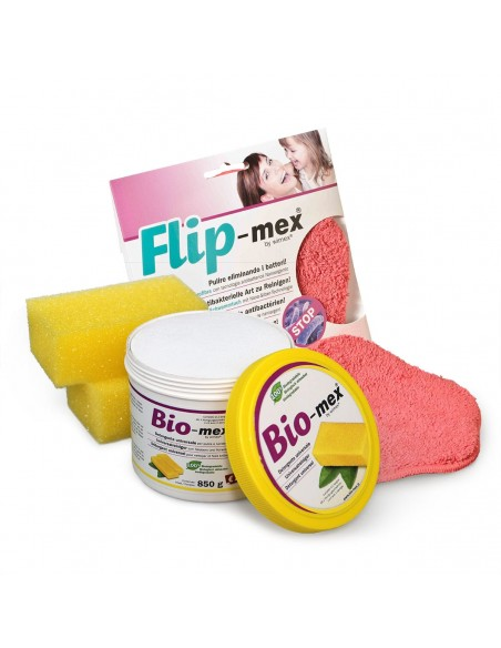 Formato risparmio detersivo Bio-mex 850gr e panno spugna Flip-mex